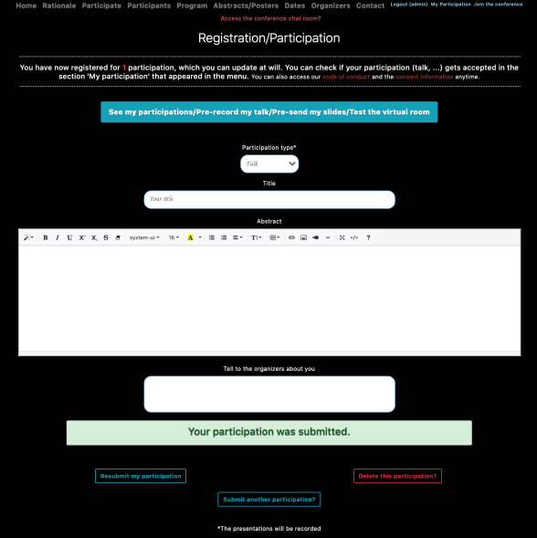 Subscription form for participants